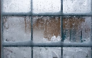 window panes with snow and ice on